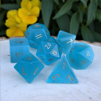 AQUA BLUE CAT'S EYE STONE DICE SET