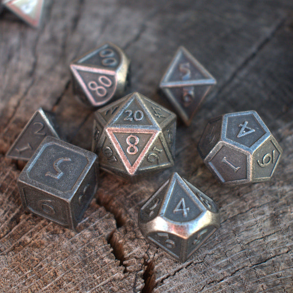 BATTLEFIELD RUSTIC SILVER METAL DICE SET