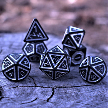 CLERIC'S DOMAIN ICE AND SHADOW  7  PIECE METAL DICE SET