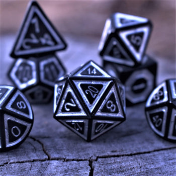 Dungeons and Dragons 7 piece metal dice set from our cleric's domain line