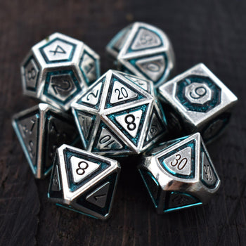 CLERIC'S DOMAIN AQUA AND SILVER METAL DICE SET