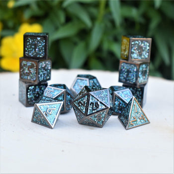ELDER RUNES MIDNIGHT DANCE ENAMEL METAL DICE