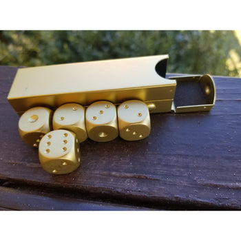 GOLD D6 SET WITH CASE - Tabletop gaming dice sets , MISTY MOUNTAIN GAMING - Misty Mountain Gaming