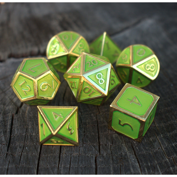 Metal dice, D&D dice, best metal dice, LIME GREEN DICE, GREEN DICE