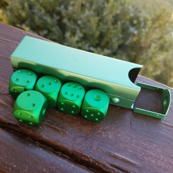 GREEN D6 SET WITH CASE - Tabletop gaming dice sets , MISTY MOUNTAIN GAMING - Misty Mountain Gaming