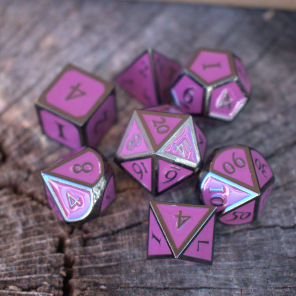 NEON PURPLE & BLACK ENAMEL METAL DICE
