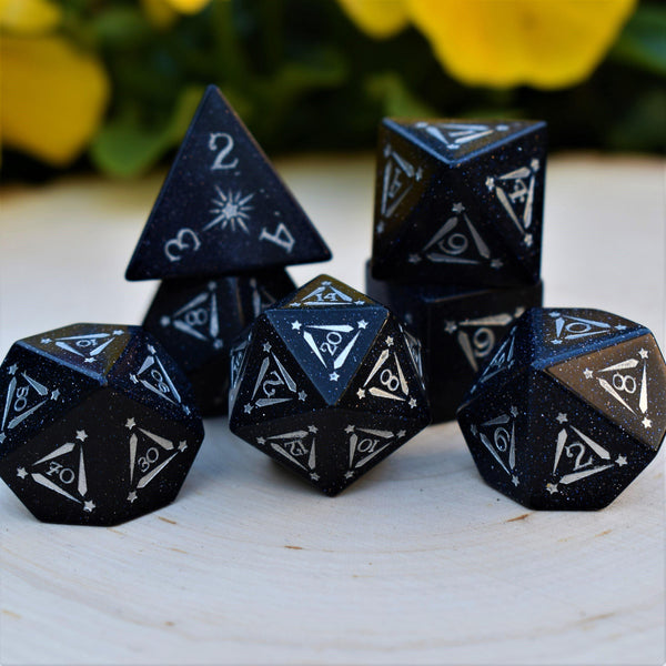 STAR OF BETHLEHEM BLUE SANDSTONE DICE SET