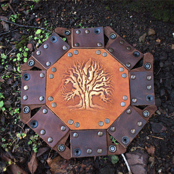 TREE OF LIFE LEATHER DICE TRAY