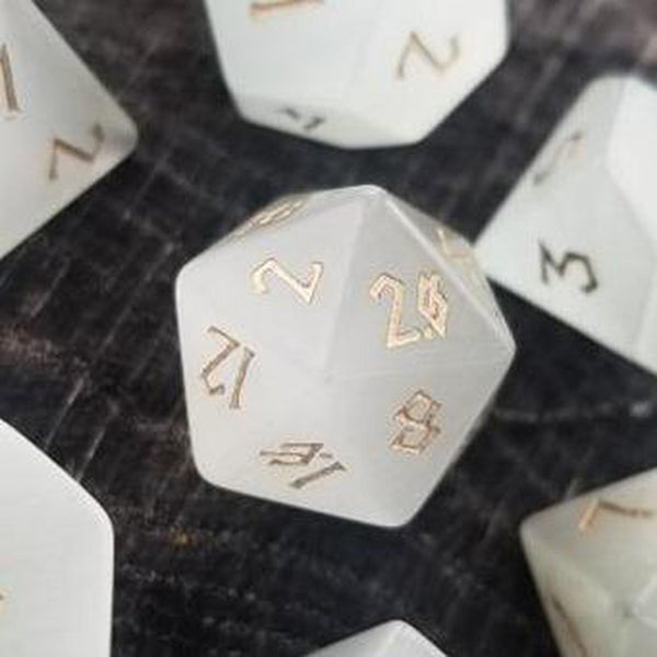 WHITE CAT'S EYE STONE DICE SET