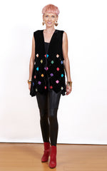 Geometrics Hand-Made Velvet Fabric Cropped Vest With Hand-Painted Bright Squares in Multi Colors