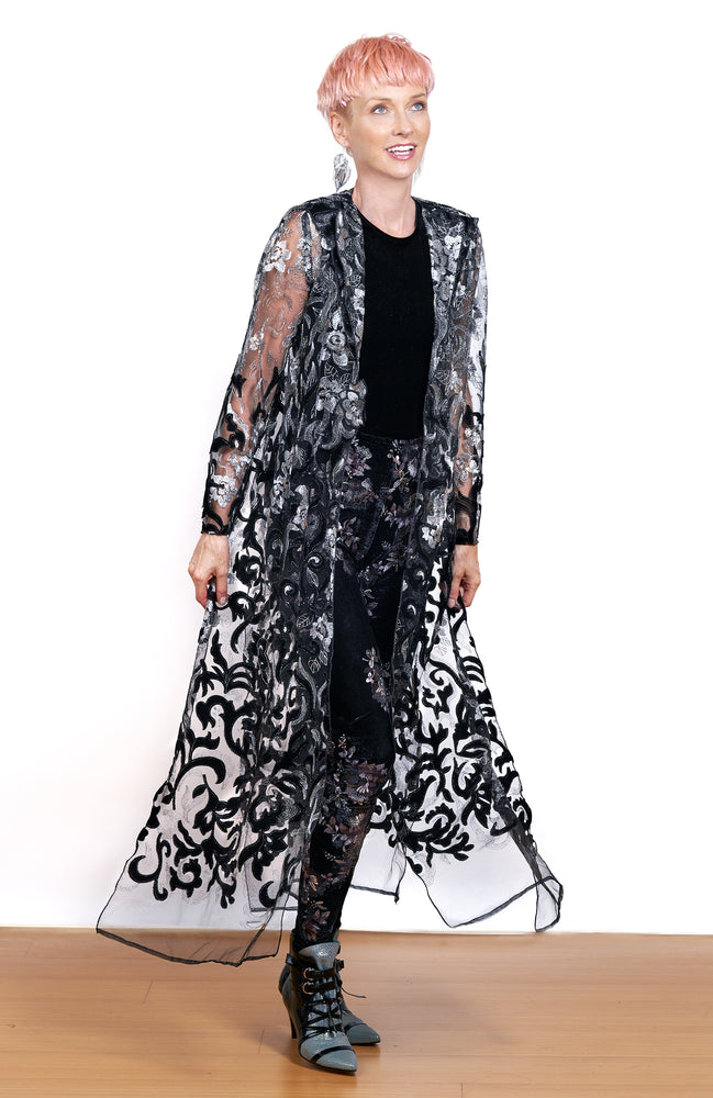 Dancer's Metallic Embroidered and Cut Velvet Coat
