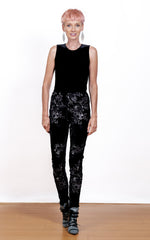 Stretch Embroidered Velvet Leggings