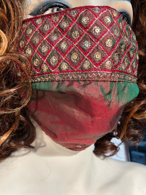 Antique Silk Taffeta Embroidered Mask