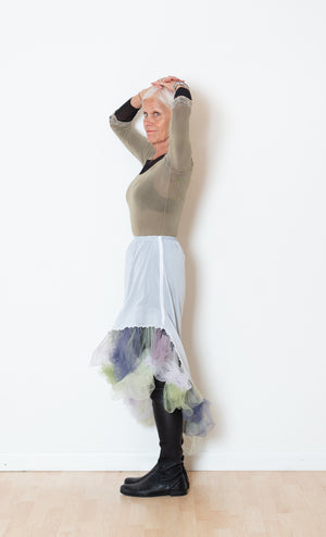 White Curved Tutu Skirt