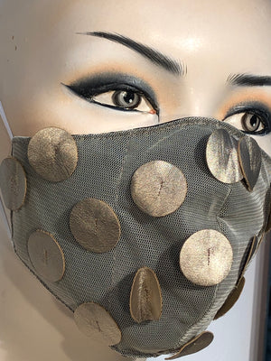 Metallic Faux Leather Mask