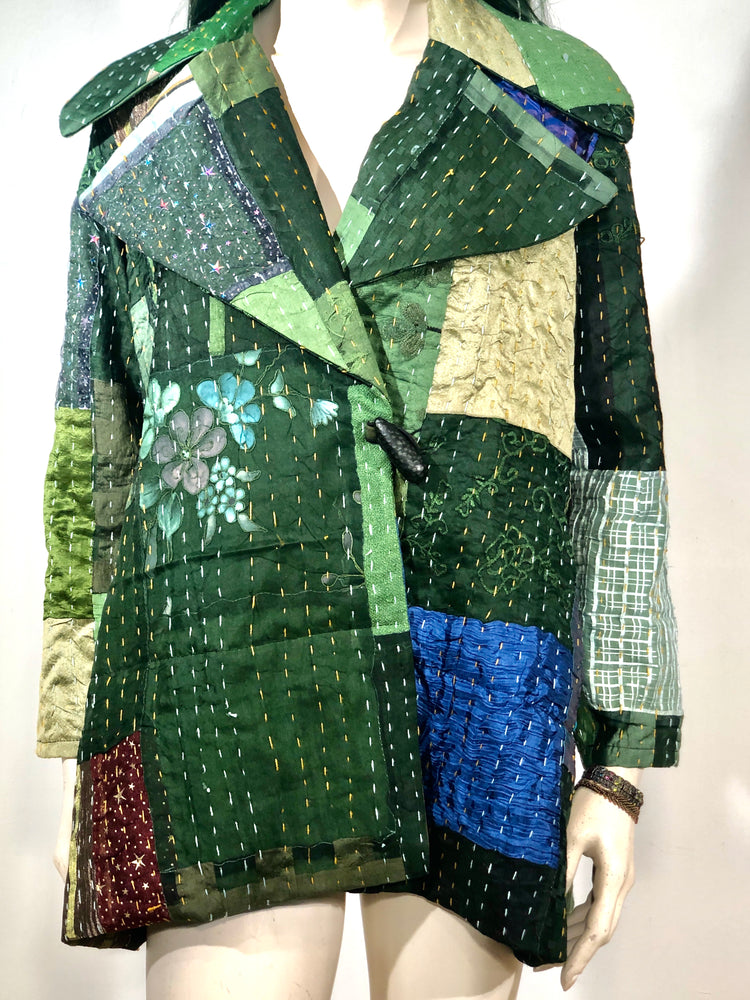 Millennial Fingertip Silk Patchwork Jacket in Greens