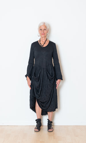 Black Crinkle Living-Life Dress