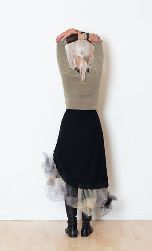 Black Curved Tutu Skirt, Black/Greys/Beiges Tulle