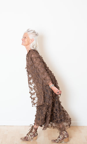 Dancer's Jacket In Textural Brown Lace