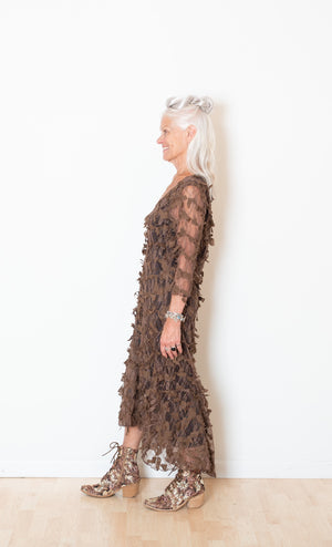 Brown Textural Lace Flapper's Dress