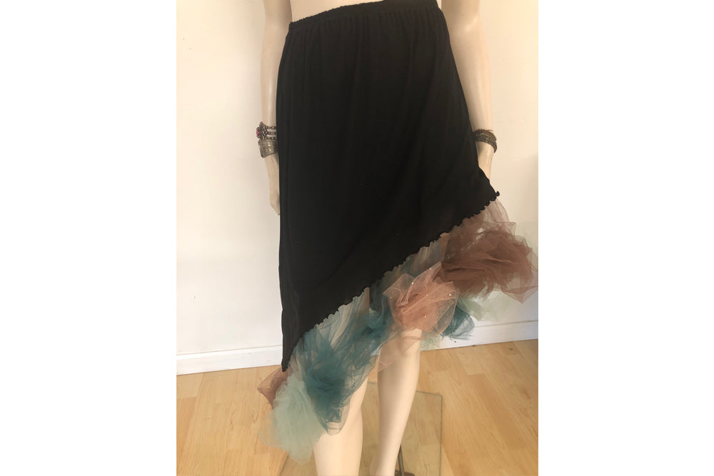 Black Curved Tutu Skirt, Black/Teal/Brown Tulle