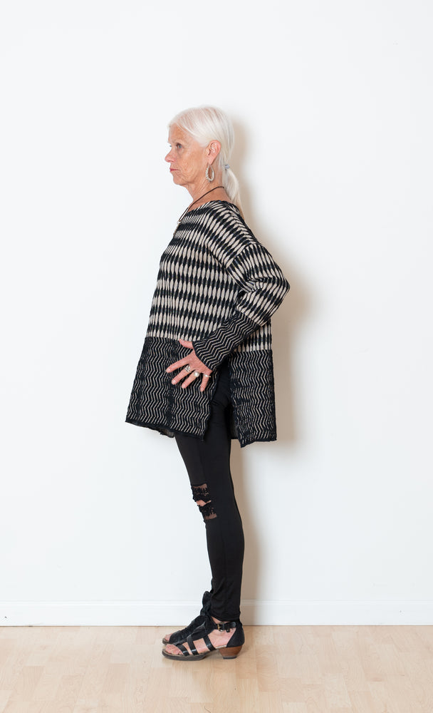 Jacquard Mud Cloth Poncho Top