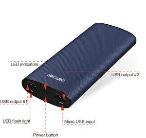 11000 MAh Dual USB power bank with LED flashlight