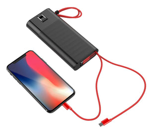 Fast charging Power Bank 20000mah with PD 18W and QC3.0 Quick charger built-in extandable 2 charging cables  total 28.5W Max PB165