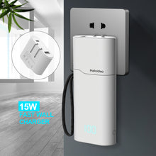 Load image into Gallery viewer, Power Bank 10000mAh,Quick Charge USB C High-Speed Portable Charger,PD18W Five Output Dual Input External Battery Pack with Built in Cable USB Wall Charger AC Plug Compatible with iOS & Android