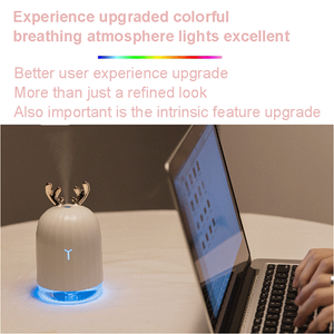 Ultrasonic Cool Mist Humidifier Superior Humidifying Unit with Whisper-Quiet Operation, Automatic Shut-Off, Night Light Function, mini cute deer humidifier 7 Color LED Lights Changing for Baby Office Home Bedroom Living Room Study Yoga Spa