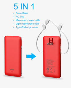 Heloideo ultra slim dual USB ports power bank 10000mah USB C Power Bank ETL Charger With  AC wall charger 3 Charging cable 4 output  for iPhone  #PB147AC