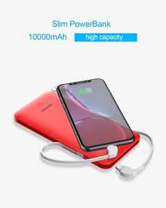 Heloideo 10000mah Ultra Slim USB C Power Bank ETL Charger With  AC wall charger 3 Charging cable 4 output portable charger for iPhone  #PB147AC