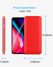 Load image into Gallery viewer, Heloideo ultra slim dual USB ports power bank 10000mah USB C Power Bank ETL Charger With  AC wall charger 3 Charging cable 4 output  for iPhone  #PB147AC