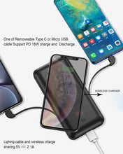 Load image into Gallery viewer, Factory Six in One AC plug Wireless fast Charger Power Bank 10,000 mAH PD18W 5.1A quick charger support  PD 3.0, QC 3.0,Heloideo PB163ACW-B