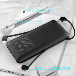 Heloideo power bank 10000mah with 3 cable