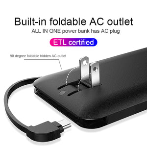 OEM customized words portable charger 10000mAh best power bank with ac plug built-in iphone charger cable Micro Cable Type-c cable for iPhone Android Heloideo PB147AC