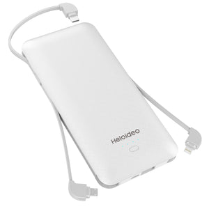 10000mAh Heloideo Slim Portable Charger Compact Power Bank External Battery Pack Charger with Cable Built-in Micro Type-c Three Kinds cable 10000mah for Mobile Phone PB147 ( NO AC outlet)