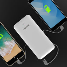 Load image into Gallery viewer, 10000mAh Heloideo Slim Portable Charger Compact Power Bank External Battery Pack Charger with Cable Built-in Micro Type-c Three Kinds cable 10000mah for Mobile Phone PB147 ( NO AC outlet)