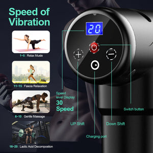Massage Gun for Athletes, Portable Body Muscle Massager Professional Deep Tissue Massage Gun for Pain Relief with 6 Massage Heads 20 Speed High-Intensity Vibration Rechargeable Massage Gun