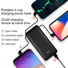 Load image into Gallery viewer, OEM customized words portable charger 10000mAh best power bank with ac plug built-in iphone charger cable Micro Cable Type-c cable for iPhone Android Heloideo PB147AC