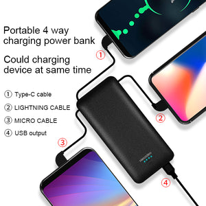 All in One Super Slim best power bank External Battery Pack Charger 10000mah  with Cable Built-in Micro Type-c liphone cable Three Kinds cable high capacity power bank for smartPhone PB147 ( NO AC outlet)