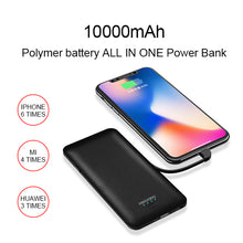 Load image into Gallery viewer, All in One Super Slim best power bank External Battery Pack Charger 10000mah  with Cable Built-in Micro Type-c liphone cable Three Kinds cable high capacity power bank for smartPhone PB147 ( NO AC outlet)
