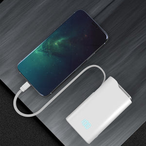 Power Bank 10000mAh,Quick Charge USB C High-Speed Portable Charger,PD18W Five Output Dual Input External Battery Pack with Built in Cable USB Wall Charger AC Plug Compatible with iOS & Android