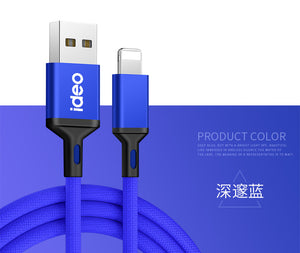 2m Nylon Braided Tangle-Free USB Cable with Gold-Plated Connectors for iPhone