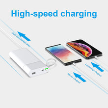 Load image into Gallery viewer, fast charging Power Bank 20000mah with PD 18W and QC3.0 Quick charger built-in extandable 2 charging cables PB165