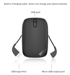 Portable  charger 2 in 1 6000mAh PowerBank with Cables for Samsung, iPhone etc. Heloideo PB002