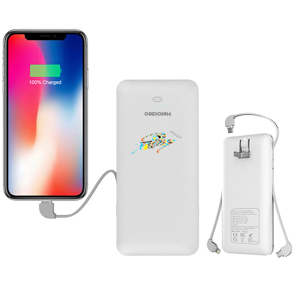 Heloideo power bank 10000mAh built in cable 3