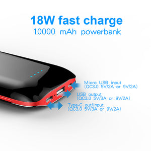 10W Wireless charger Quick Charge Power Bank 10000mAh,Ultra Slim Power Bank with Quick Charge 3.0,USB-C/Type-C Port,Smart USB Port/Portable Power for iPhone,iPad,iPod,Samsung, Etc(black)