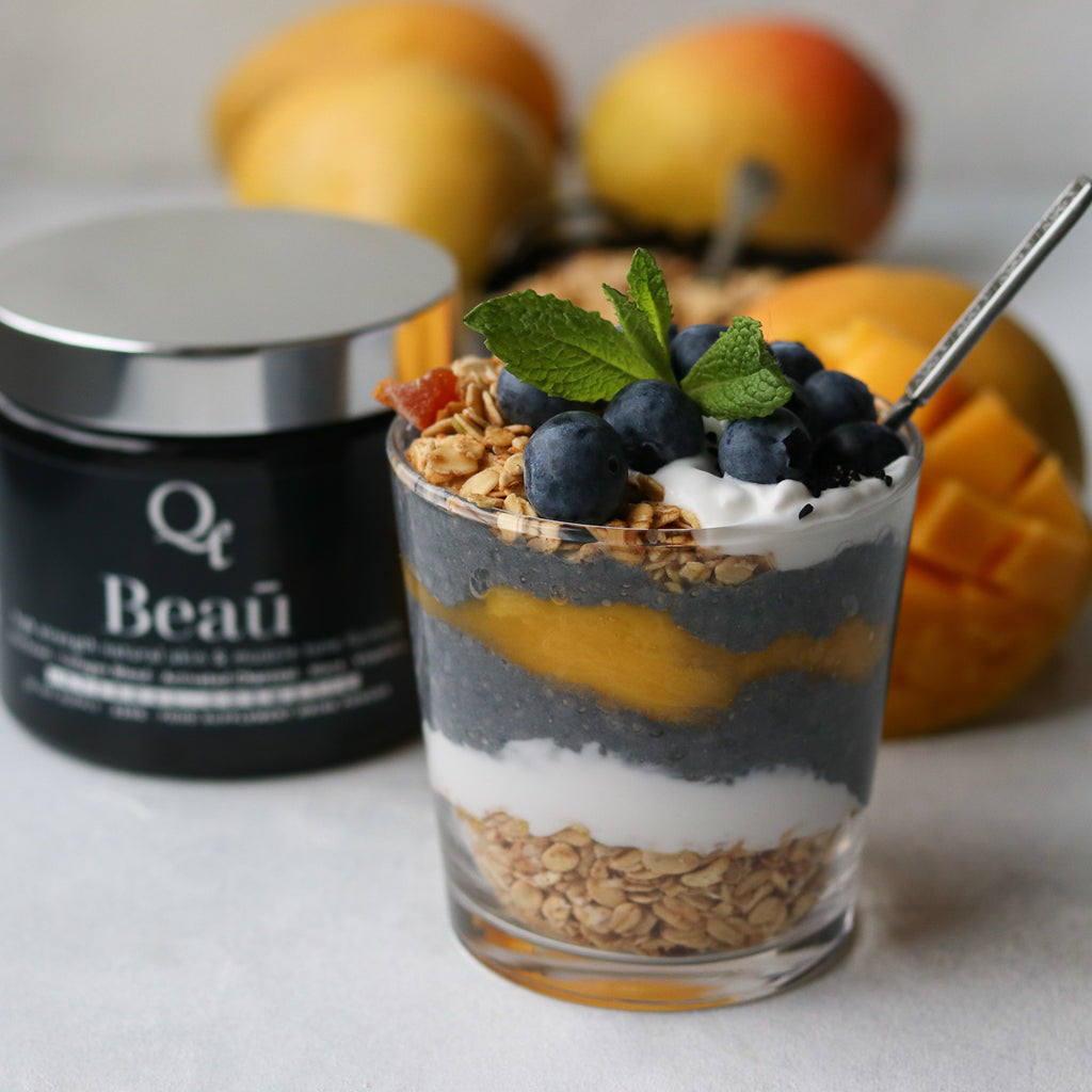 New Zealand marine collagen powder mango and chia breakfast parfait recipe