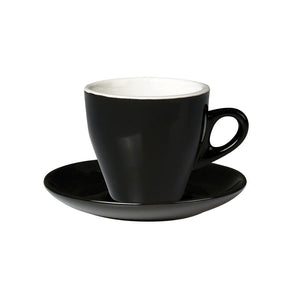 06.CAPTL.S.BK Incafe Black Tulip Cappuccino Saucer Globe Importers Adelaide Hospitality Suppliers
